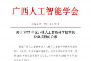 【公示】关于2021年度八桂人工智能科学技术奖获奖项目的公示
